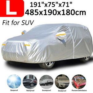 Full Car Cover Large L Windproof Dust Sun Suv Snow Protector Outside All Weather