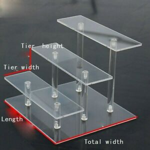 Acrylic Shelves Display Stand Model Cars Toy Cupcakes Rack Transparent Shop Home