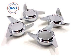 3 Bar Cut Chrome Knock Off Spinner Caps For Lowrider Wire Wheels C