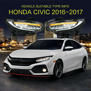 Vland Led Sequential Headlight Replacement Left Right For Honda Civic 2016 2019