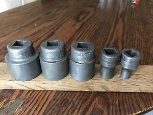 5 Rare Vintage Blackhawk Sockets With 1 2 Drive 3 4 To 1 8 Whitworth
