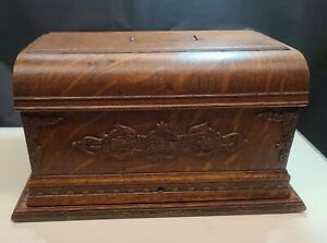 Antique Ornate Sewing Machine Box Hand Carved W Key
