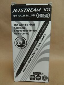 Uni Jetstream 101 Roller Ball Pens New Box Of 12 Black Sx 101 07 Made In Japan
