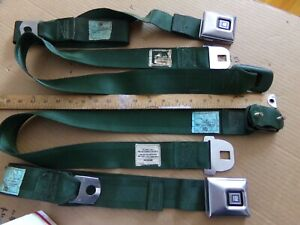 1969 70 Gm Deluxe Shoulder Seat Belts Green Large Buckle Pair