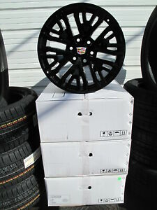 20 New Cadillac Escalade Factory Style Black Set Of 4 Wheels 5906 S h