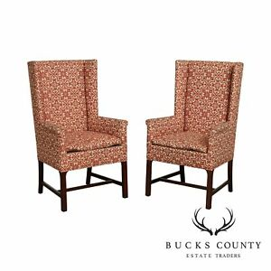 Hickory Chair Hand Crafted Mahogany Frame Pair Delaware Host Chairs
