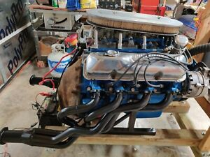 Ford 428 Cobra Jet Engine 3x2 Holley Carbs On Test Stand Turn Key
