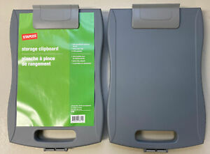 Staples Portable Storage Clipboard Gray 9 1 2 X 12 Lot Of 2 15786 New