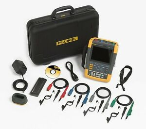 Fluke 190 204 am s 4 Channel Lcd Color Scopemeter Oscilloscope With Scc290 Kit