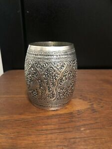 Antique Anglo Indian Sterling Silver Beaker C 1890