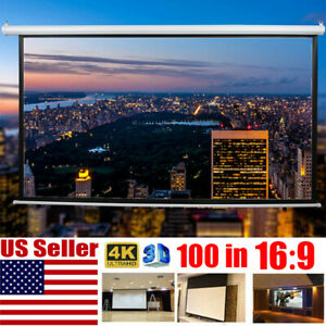 100 In 16 9 3d Hd Projector Screen Home Cinema Electric Motorized remote Control