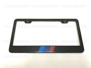Tri color Stripe Black Powder Coated Metal License Plate Frame W screw Caps