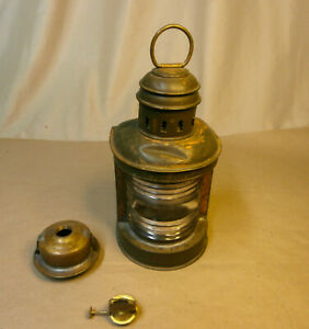 Vintage Perko Brass Marine Oil Lantern Lamp With Clear Lens