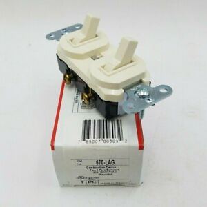 Pass Seymour 670 lag Combination Switch Device Toggle 20a 120 277v Light Almond