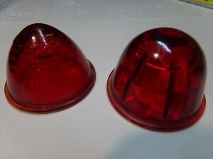 Two Vintage Round Red Glass Light Lens Markers Arrow 2 7 16 Kd 510 501