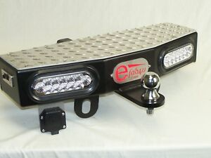 24 Wide 2 Receiver Hitch Step Towing Extension With 2 6 Leds
