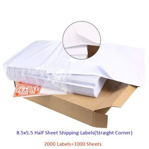 2000 8 5x5 5 Half Sheet Shipping Labels 2 Per Sheet Self Adhesive For Laser Usa