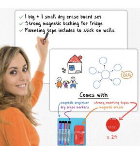 Magnetic Dry Erase White Board Set 2 Large Small Boards For Wall Mounting