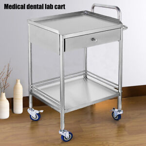 2 Tiers Stainless Medical Trolley Mobile Rolling Serving Cart W 1 Drawer Wheels