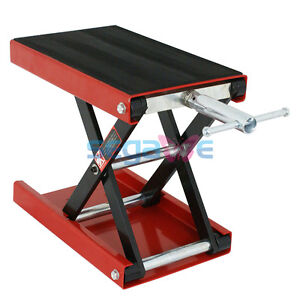 Portable 1100 Lbs Motorcycle Scissor Jack Lift Wide Deck Stand Widow Cruiser