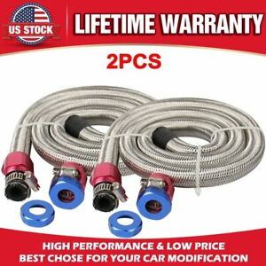 2pc Gsl1008 Universal Kit Fuel Line Gas 3 8 In Id 3ft Length Braided Stainless