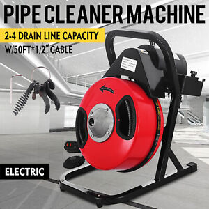 Sewer Snake 50ft 1 2 electric Auger Drill Drain Cleaner Machine W 4 Cutter