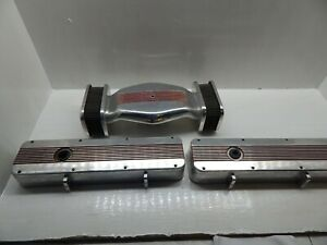B M Aluminum Valve Covers And Air Cleaner Set Sbc Small Block Chevy Rare Vintage