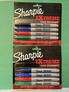 Lot Of 2 Sharpie Extreme Permanent Markers Fine Point Assorted Colors 4 Pk