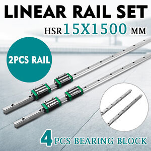 2xsbr15 1500mm Linear Rail Slide Guide Rod 4sbr15ca Block Set Aluminium Bearing