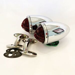 Chrome 1937 Ford Tail Lights With Custom Lens S s 90 Degree Stands 1 Pair
