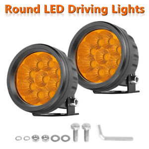2x 5 3000k Fog Round Led Driving Lights Bar Spot Flood Amber Pods Off Road 4wd