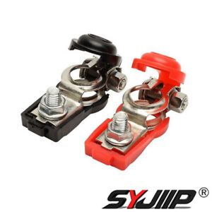 Pair Battery Terminal Cable Clamp Negative Positive Top Post For Toyota Chevy