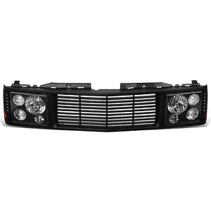 Fit 94 00 Chevy Gmc C K 1500 2500 3500 Headlights Front Bumper Grille Black