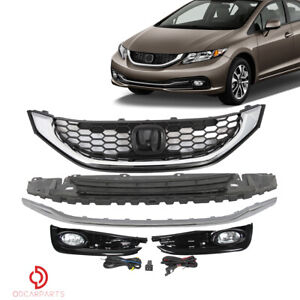 Fits Honda Civic 2013 2015 Sedan Front Grille Bumper Molding Trim Fog Lights Set