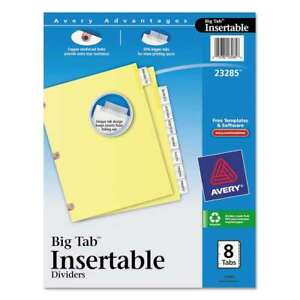 Avery Insertable Big Tab Dividers 8 tab Letter 072782232856