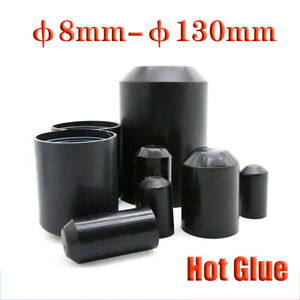 Black 2 1 Heat Shrink End Cap hot Glue Wire Cable Sealing Cap End Protection
