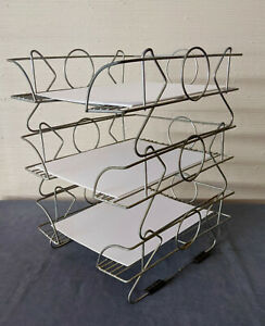 Vtg Metal Wire Stacking Desk Organizer 3 Trays Industrial Mcm Or Deco Decor