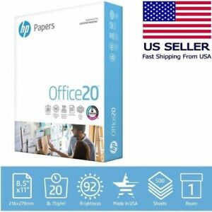 Hp Printer Paper 8 5 X 11 20 Lb 1 Ream 500 Sheets 92 Bright Made In Us
