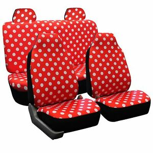 Fh Group Fb115red114 Full Set Seat Cover stylish Polka Dot High Back Red