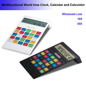 Wholesale Lots 50x Multifunctional Calculator With World Time Clock Calendar