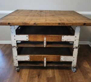 Antique Industrial Work Farmhouse Kitchen Island Dining Table Bar Factory Carts