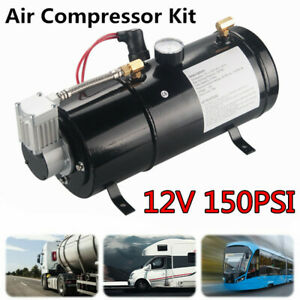 Dc 12v 150psi Truck Pickup On Board Air Compressor With 3 Liter Tank Air Horn