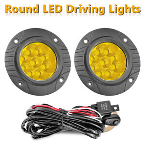 Pair 5 3000k Round Led Driving Lights Bar Spot Flood Pods Off Road wiring Kit