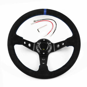 14inch 350mm Deep Dish 93mm Drifting Racing Steering Wheel Suede Leather Blue
