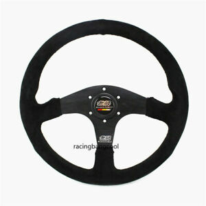 Mugen 14inch Suede Leather Steering Wheel Tuning Drift Racing Car Steering Wheel