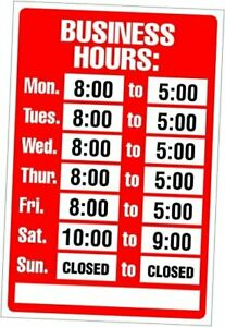 Sign Kit Business Hours 8 X 12 Inches 098071