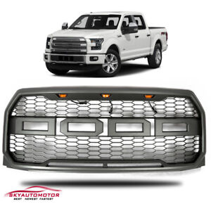 Fits 2015 2017 Ford F150 Front Upper Grille Raptor Style With Lamp Grey
