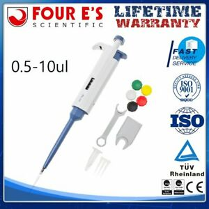 0 5ul 10ul Single Channel Adjustable Volume Pipette Pipettor Calibrated cleaned