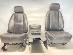 Chevy Silverado Sierra Tahoe Front Black Leather Heated Seats Center Console Oem