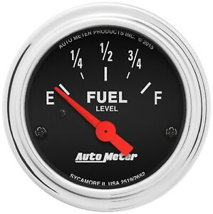 Autometer 2519 Traditional Chrome Electric Fuel Level Gauge